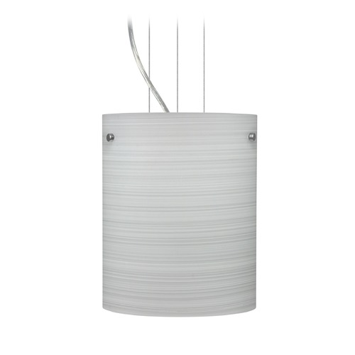 Besa Lighting Besa Lighting Tamburo Satin Nickel LED Mini-Pendant Light with Cylindrical Shade 1KG-4006KR-LED-SN