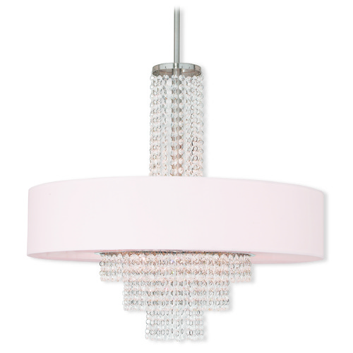 Livex Lighting Livex Lighting Carlisle Brushed Nickel Pendant Light with Drum Shade 51037-91