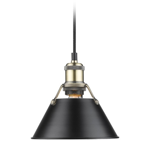 Golden Lighting Golden Lighting Orwell Ab Aged Brass Mini-Pendant Light with Conical Shade 3306-S AB-BLK