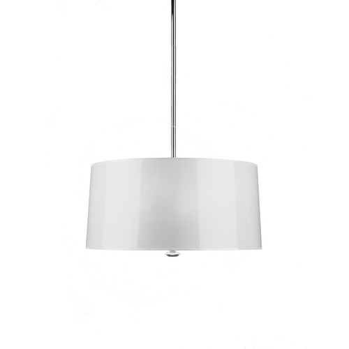 Robert Abbey Lighting Three-Light White Barrel Shade Pendant W808