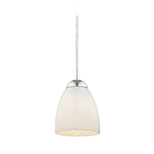Design Classics Lighting Art Glass Mini-Pendant Light with White Scalloped Bell Shade 582-26 GL1020MB
