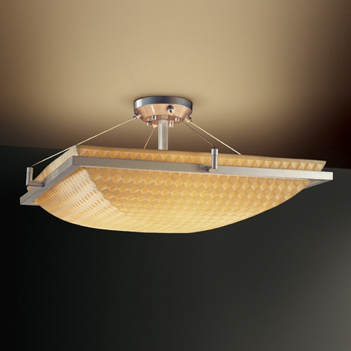 Justice Design Group Justice Design Group Porcelina Collection Semi-Flushmount Light PNA-9782-25-PLET-NCKL