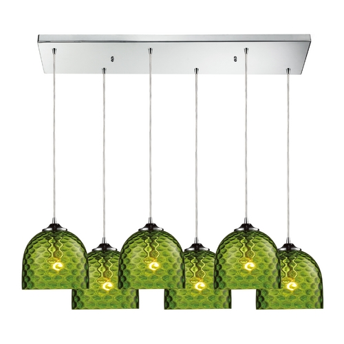 Elk Lighting Modern Multi-Light Pendant Light with Green Glass and 6-Lights 31080/6RC-GRN