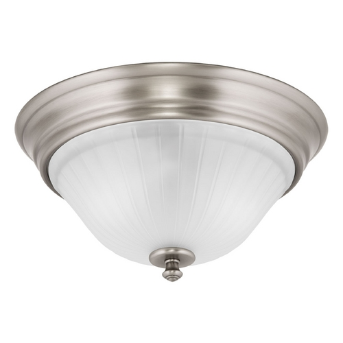 Progress Lighting Flushmount Light with White Glass in Antique Nickel Finish P3772-81
