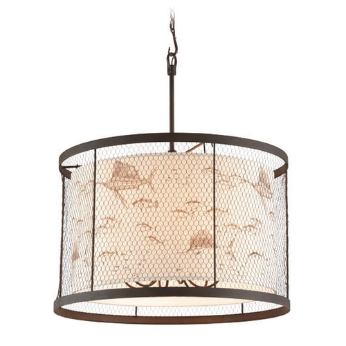 Troy Lighting Catch-N-Release Angler Bronze Pendant Light with Drum Shade F4027