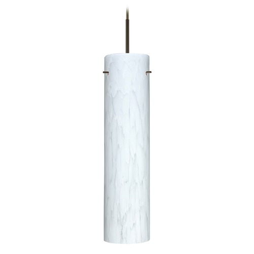 Besa Lighting Besa Lighting Stilo Bronze LED Mini-Pendant Light with Cylindrical Shade 1JT-722419-LED-BR