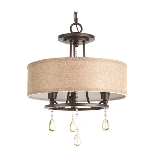Progress Lighting Progress Lighting Flourish Cognac Pendant Light with Drum Shade P3710-72