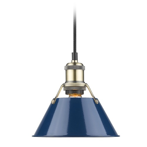 Golden Lighting Golden Lighting Orwell Ab Aged Brass Mini-Pendant Light with Conical Shade 3306-S AB-NVY