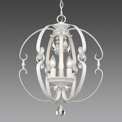 Golden Lighting Ella 3 Light Pendant in French White 1323-3PFW