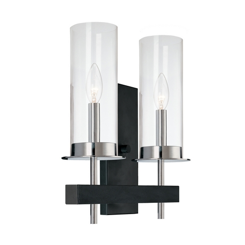 Modern Sconce Wall Light With Clear Glass In Chrome Black