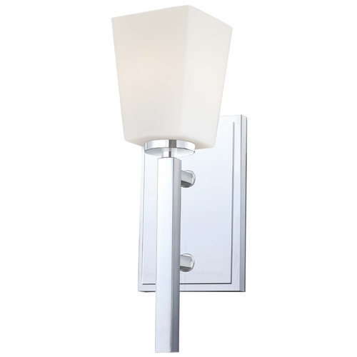 Minka Lavery Modern Sconce Wall Light with White Glass in Chrome Finish 6540-77