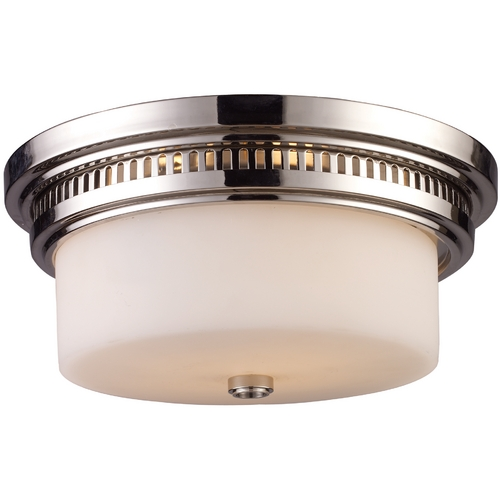 Elk Lighting Flushmount Light with White Glass in Polished Nickel Finish 66111-2
