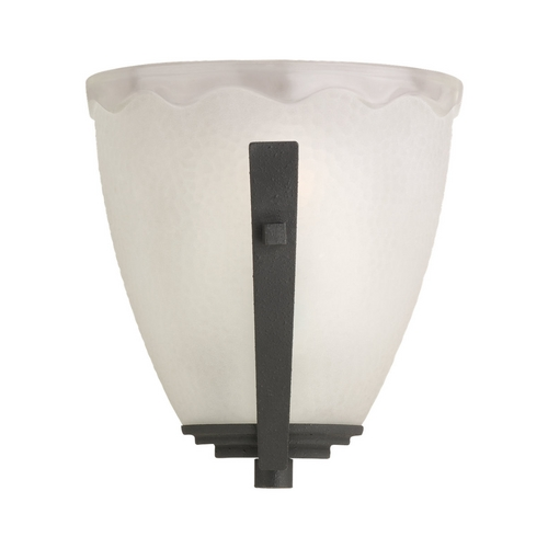 Sea Gull Lighting Sconce Wall Light with White Glass in Blacksmith Finish 41640-839