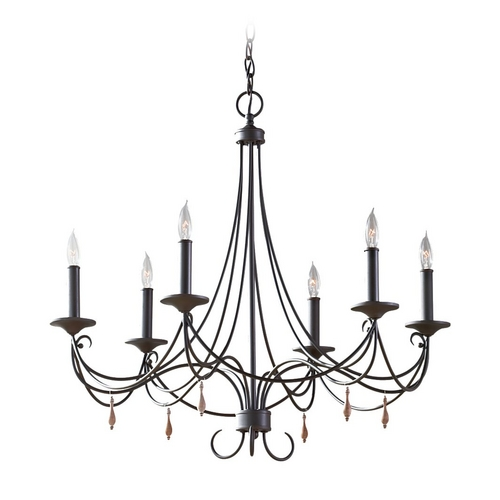Feiss Lighting Chandelier in Rustic Iron Finish F2746/6RI