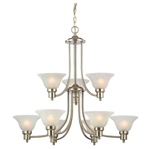 Design Classics Lighting Satin Nickel Chandelier with Alabaster Glass Shades  1651-09