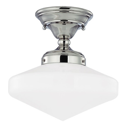 Design Classics Lighting 10-Inch Polished Nickel Schoolhouse Semi-Flushmount Ceiling Light FAS-15 / GE10