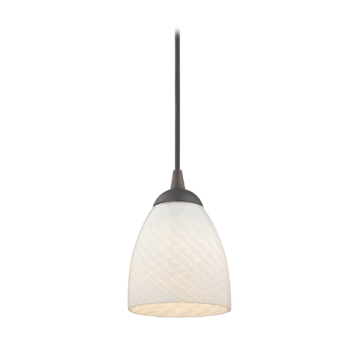 Design Classics Lighting Contemporary Mini-Pendant Light with White Art Glass Bell Shade 582-220 GL1020MB