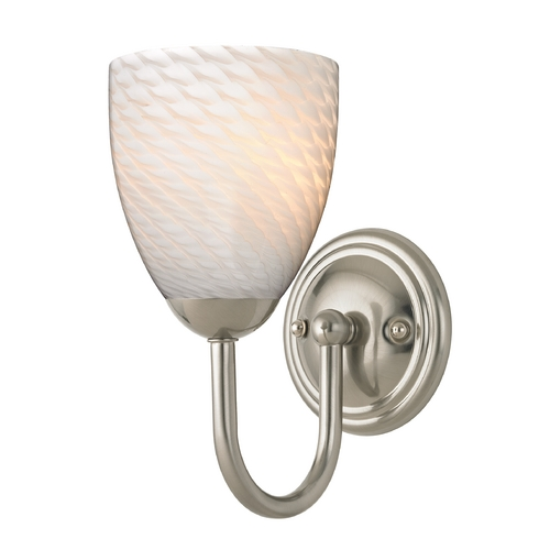 Design Classics Lighting Sconce with White Art Glass in Satin Nickel Finish 593-09 GL1020MB