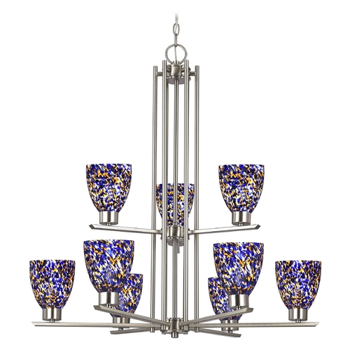 Design Classics Lighting Modern Chandelier with Blue Glass in Satin Nickel Finish 1122-1-09 GL1009MB