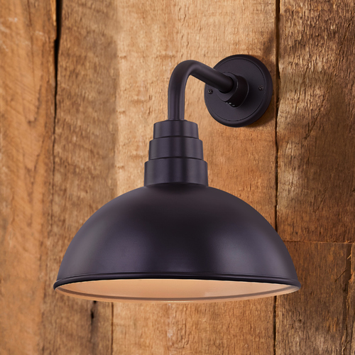 Recesso Lighting by Dolan Designs Bronze Gooseneck Barn Light with 14-Inch Dome Shade BL-ARMD1-BZ/BL-SH14D-BZ