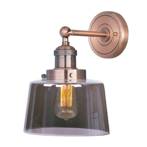 Maxim Lighting Sconce Wall Light with Clear Glass in Antique Copper Finish 25069MSKACP/BUI