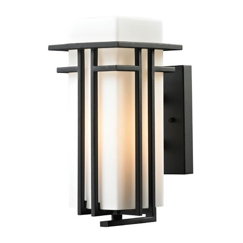 Elk Lighting LED Outdoor Wall Light with White Glass in Textured Matte Black Finish 45085/1-LED