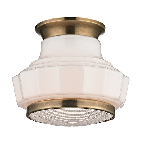Hudson Valley Lighting Art Deco Flushmount Light Brass Odessa by Hudson Valley Lighting 3809F-AGB