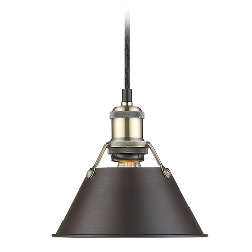 Golden Lighting Golden Lighting Orwell Ab Aged Brass Mini-Pendant Light with Conical Shade 3306-S AB-RBZ