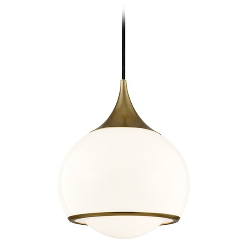 Mitzi by Hudson Valley Mitzi By Hudson Valley Reese Aged Brass Pendant Light with Bowl / Dome Shade H281701M-AGB