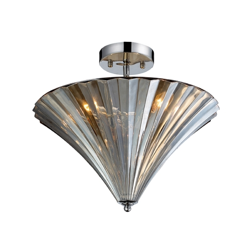 Elk Lighting Semi-Flushmount Light with Clear Glass in Polished Chrome Finish 31253/3