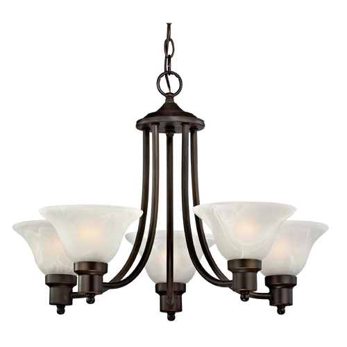 Design Classics Lighting Bronze Chandelier with Alabaster Glass Shades 1650-78