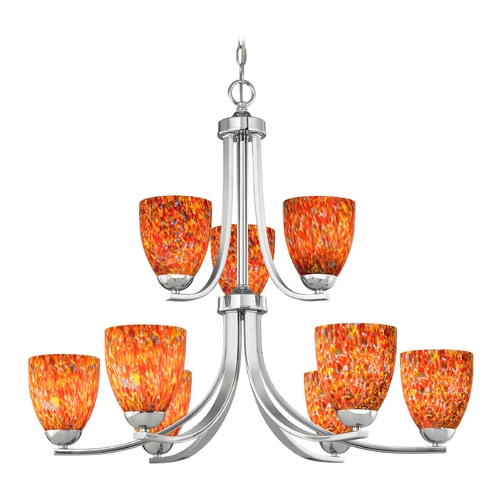 Design Classics Lighting Modern Chandelier with Art Glass in Polished Chrome Finish 586-26 GL1012MB