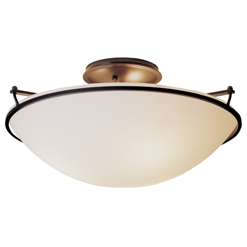 Hubbardton Forge Lighting Three-Light Semi-Flush Ceiling Light 124304-07-G53