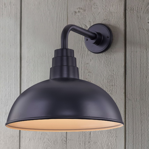 Recesso Lighting by Dolan Designs Black Gooseneck Barn Light with 16