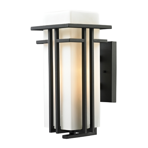 Elk Lighting Outdoor Wall Light with White Glass in Textured Matte Black Finish 45086/1