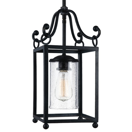 Feiss Lighting Feiss Declaration Antique Forged Iron Mini-Pendant Light with Cylindrical Shade P1331AF