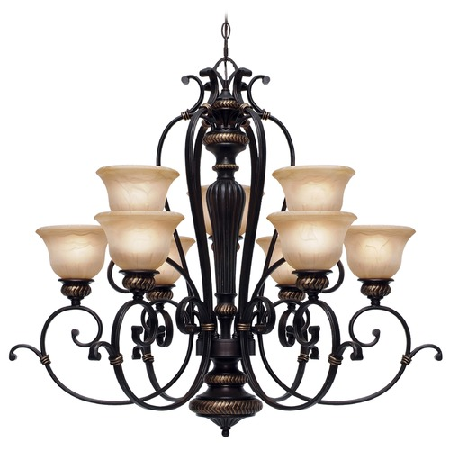 Golden Lighting Golden Lighting Jefferson Etruscan Bronze Chandelier 6029-9 EB