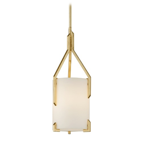 Troy Lighting Troy Lighting Quantum Gold Leaf Mini-Pendant Light with Cylindrical Shade F5235