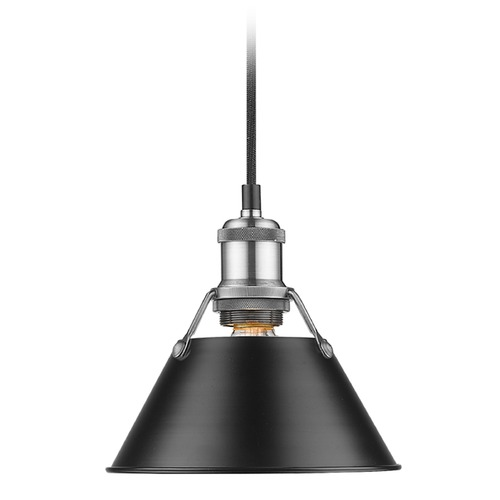 Golden Lighting Golden Lighting Orwell Pw Pewter Mini-Pendant Light with Conical Shade 3306-S PW-BLK