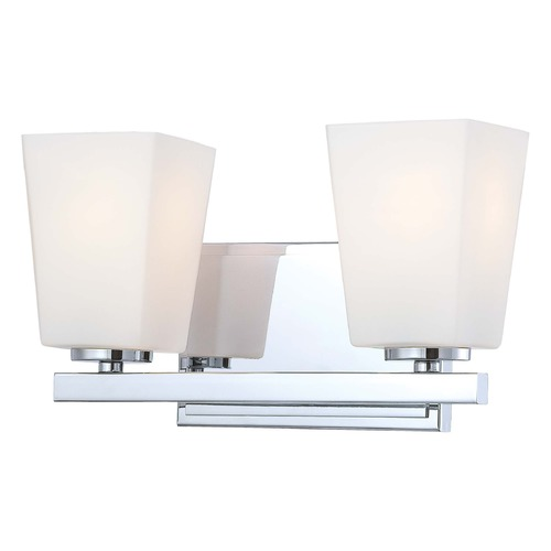 Minka Lighting Modern Bathroom Light with White Glass in Chrome Finish 6542-77