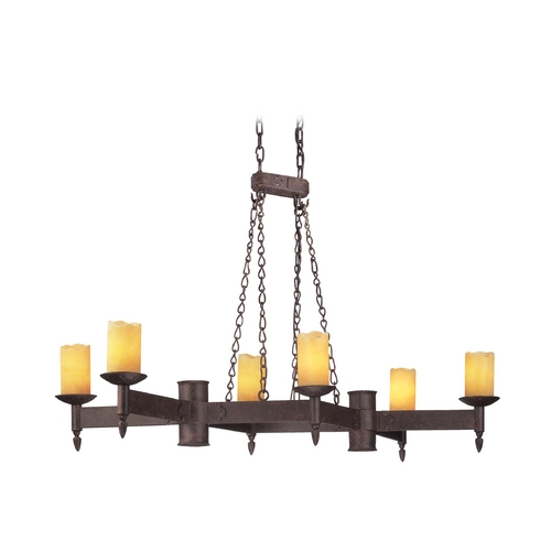 Troy Lighting Chandelier with Beige / Cream Glass in Weathered Rust Finish F2586