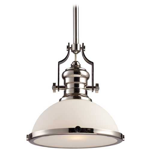 Elk Lighting Pendant Light with White Glass in Polished Nickel Finish 66113-1