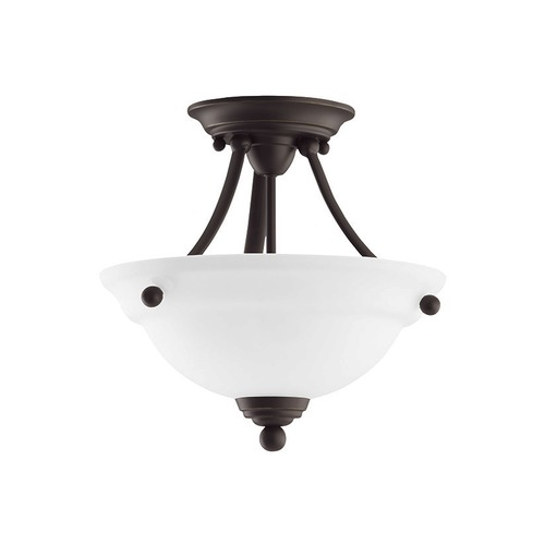Sea Gull Lighting Semi-Flushmount Light with White Glass in Heirloom Bronze Finish 77625-782