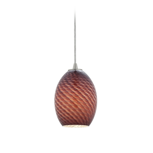 Access Lighting Modern Mini-Pendant Light with Purple Glass 28023-1C-BS/PLMFB