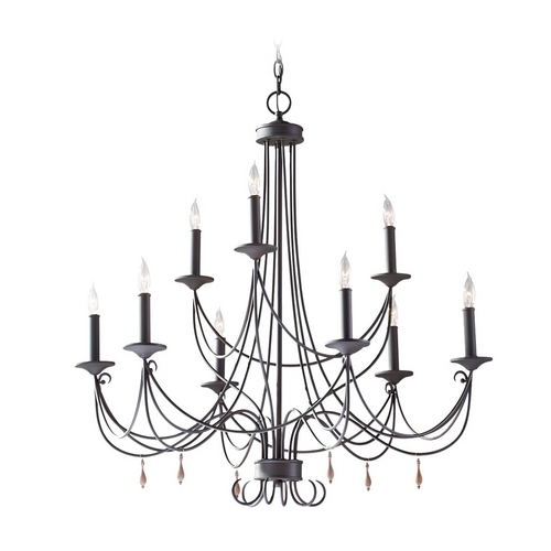 Feiss Lighting Chandelier in Rustic Iron Finish F2748/6+3RI
