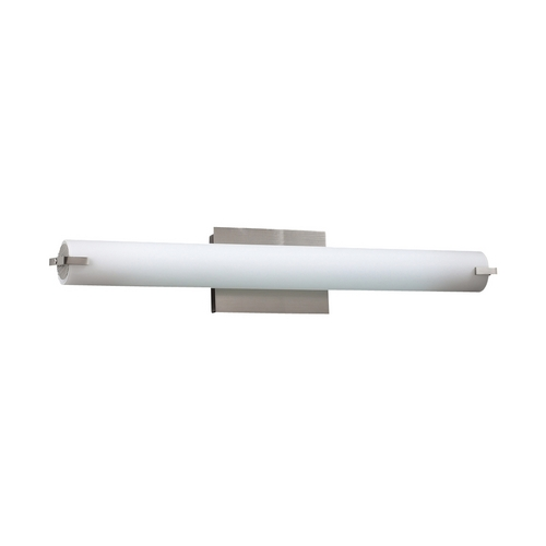 PLC Lighting Modern Bathroom Light with White Glass in Satin Nickel Finish 966 SN