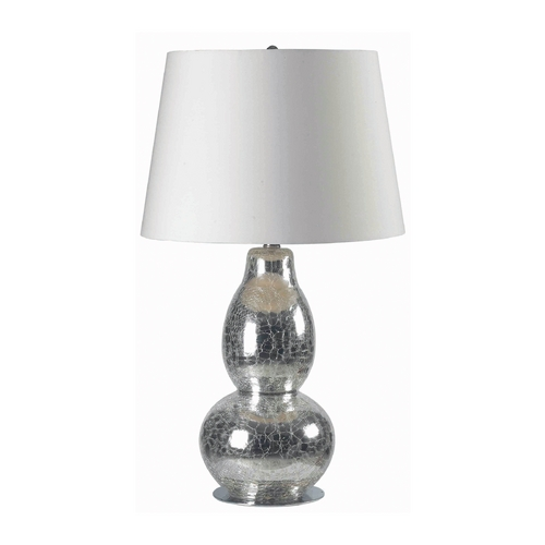 Kenroy Home Lighting Modern Table Lamp with White Shade in Chrome Crackled Glass Finish 32041CHCR