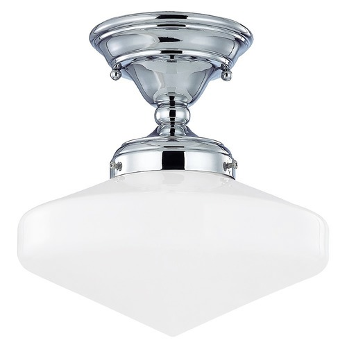 Design Classics Lighting 10-Inch Vintage Style Schoolhouse Ceiling Light in Chrome Finish FAS-26 / GE10