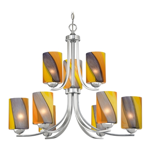 Design Classics Lighting Modern Chandelier with Art Glass in Polished Chrome Finish 586-26 GL1015C
