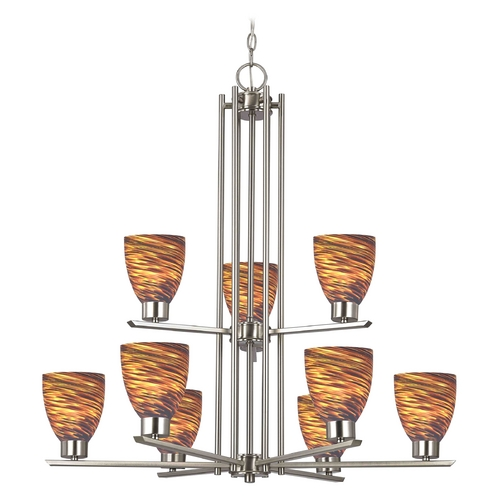 Design Classics Lighting Modern Chandelier with Brown Glass in Satin Nickel Finish 1122-1-09 GL1023MB